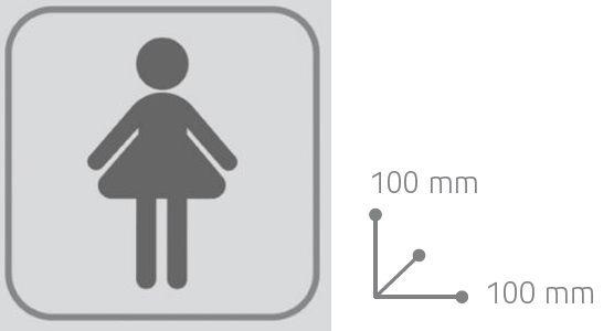 Targhetta adesiva per porta del bagno donna