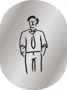 T719951 Plaque pictogramme aluminium satine Toilettes Homme