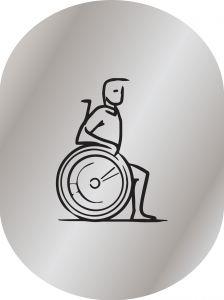 T719954  Plaque pictogramme aluminium satine Toilettes pour Handicapé