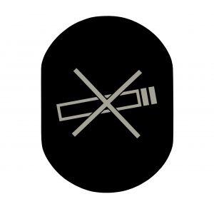 T719917 Plaque pictogramme aluminium noir Ne Pas Fumer