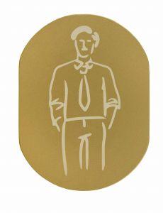 T719931 Plaque pictogramme aluminium doré Toilettes Homme