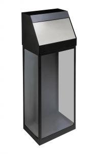 T774057 Corbeille à dechets transparent noir avec couvercle ouverture push 50 litres