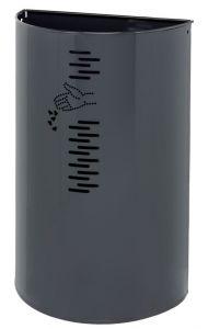 T778061 Gettacarte semicircolare in acciaio grigio per esterno 40 litri