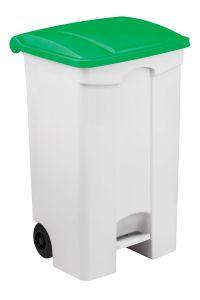 T115098 Contenitore mobile a pedale in plastica bianco coperchio verde 90 litri (confezione da 3 pezzi)