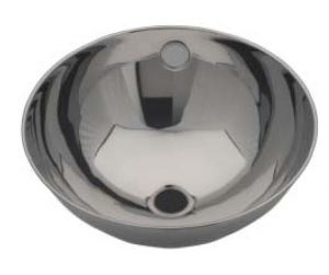 LX1190 Lavabo circolare bordo arrotolato in acciaio inox 246x258x130 mm -LUCIDO-