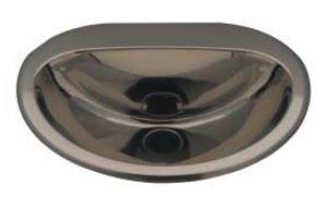 """LX1340 Lavabo """"Cin"""" ovale in acciaio inox 465x400x155 mm - SATINATO -"""