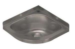 LX1460 Lavabo ad angolo con foro rubinetto in acciaio inox 360x360x208 mm - LUCIDO -
