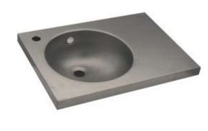 LX1550 Lavabo con piano in acciaio inox 350x350x125 mm - SATINATO -