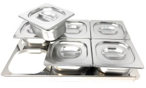 TIMGS16 adaptateur partition Gastronorm 1/1 cadre en acier inoxydable pour 6 conteneurs GN 1/6