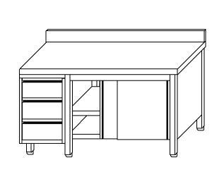 TA4067 Tavolo armadio in acciaio inox con porte su un lato, alzatina e cassettiera SX 210x60x85