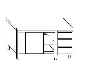 TA4091 Tavolo armadio in acciaio inox con porte su un lato e cassettiera DX 210x70x85