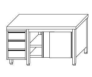 TA4105 Tavolo armadio in acciaio inox con porte su un lato e cassettiera SX 240x70x85