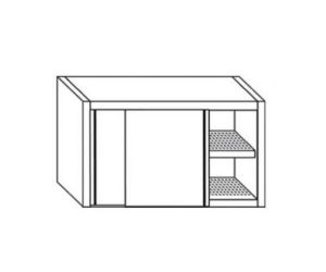 PE7045 Cabinet with sliding doors in stainless steel drainer with L = 130cm