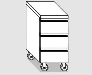 45210.04 Cassettiera ruote 3c gn1/1 h15 agi cm 40x70x84h