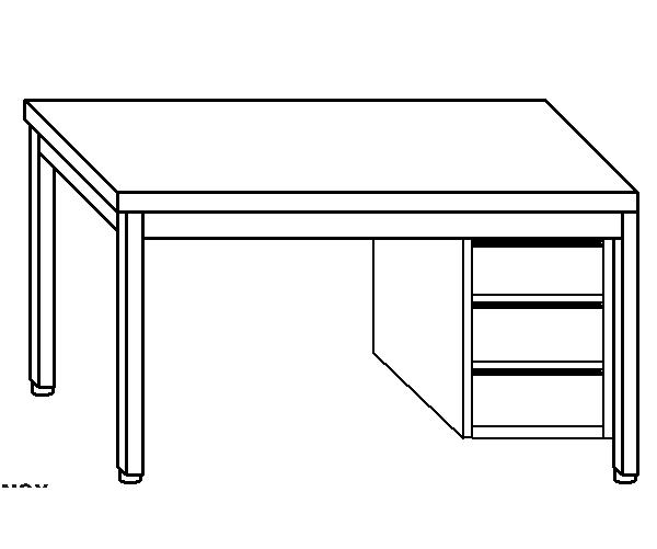 Tavolo da lavoro in acciaio inox AISI 304 su gambe con cassettiera DX destra