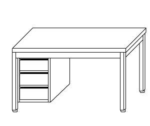 TL5041 Tavolo da lavoro in acciaio inox AISI 304 cassettiera sx 130x60x85